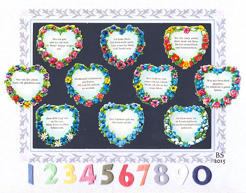 Herz-Oblaten Liebesmarken Glanzbilder Poesiealbum Herz Herzen Kitsch kitschig Blumen Gedicht Spruch romantisch Liebe Romantik Collage Brigitte Stolle 2015