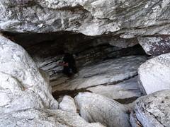 Passage en grotte vers la fin des vasques du Vaglie