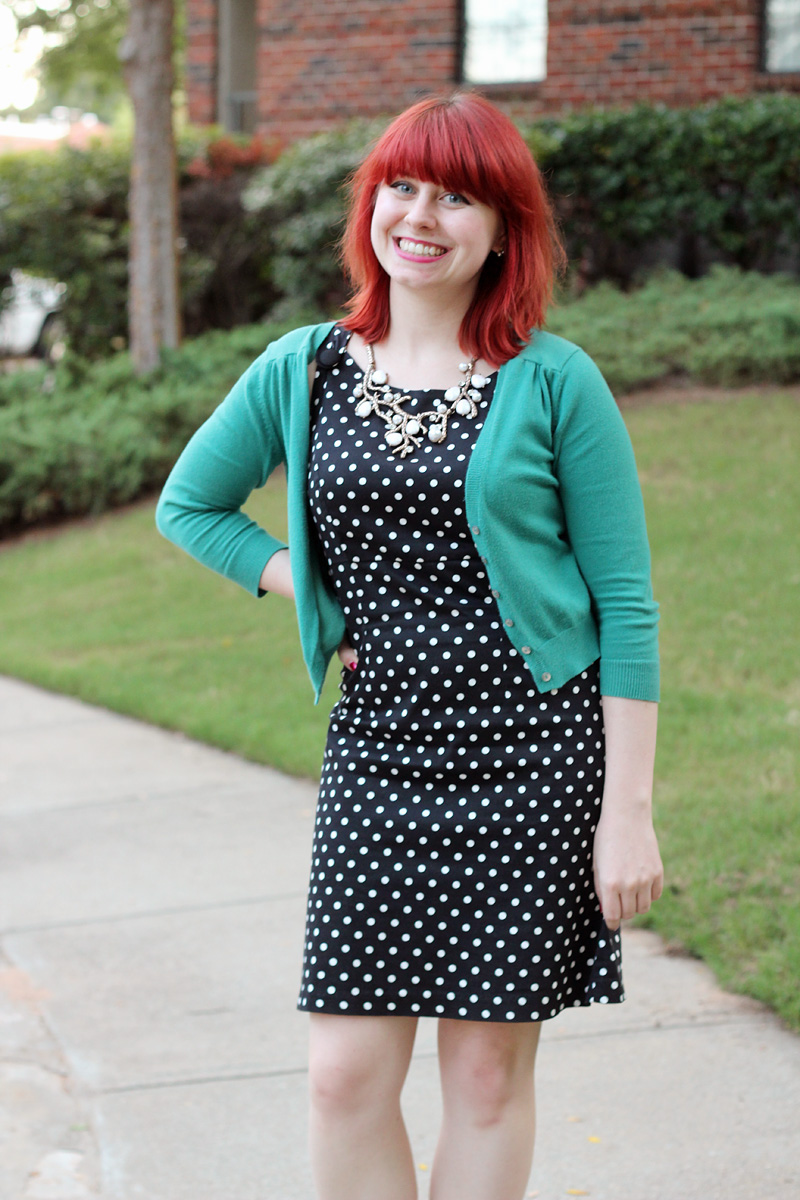 Polka Dot Dress, Teal Cropped Cardigan, and a Happiness Boutique Statement Necklace