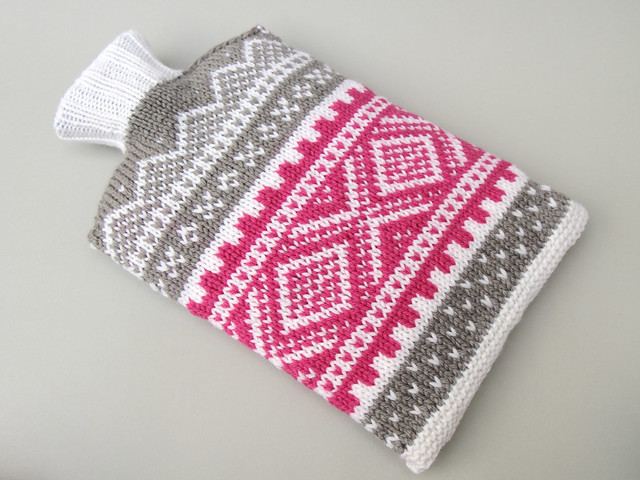 Hand Knit Norwegian Style Hot Water Bottle Cosy Pink