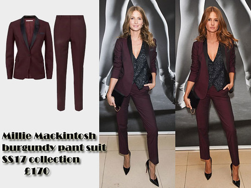 Millie-Mackintosh-in-a-burgundy-pant-suit