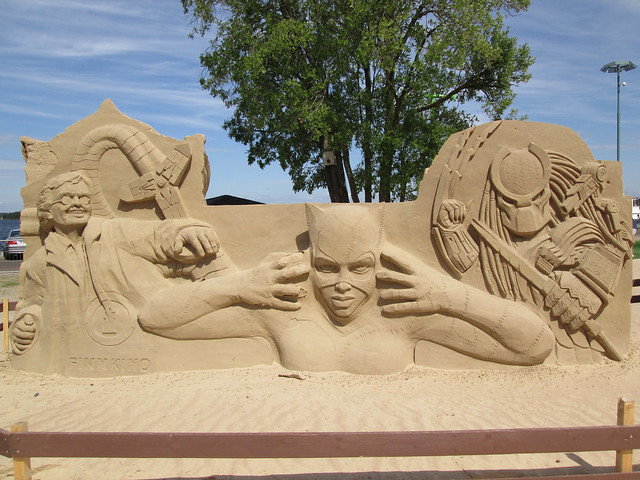 Doctor Octopus, Catwoman and Predator Sand Sculpture