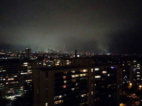Silver skyline, from the west #toronto #highparknorth #skyline #skyscraper #cntower #night