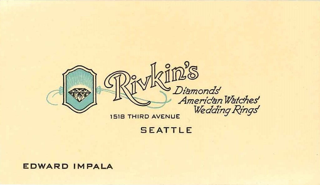 Rivkins jewelers business card circa 1940s found in fold flickr rivkins jewelers business card circa 1940s by seattle municipal archives colourmoves