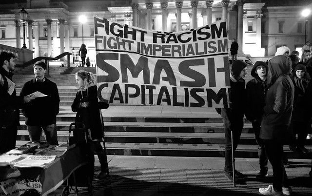 Fight Racism Fight Imperialism - Anti-Trump protesters start to gather in London's Trafalgar Square.