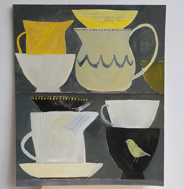 still life with yellow vessels