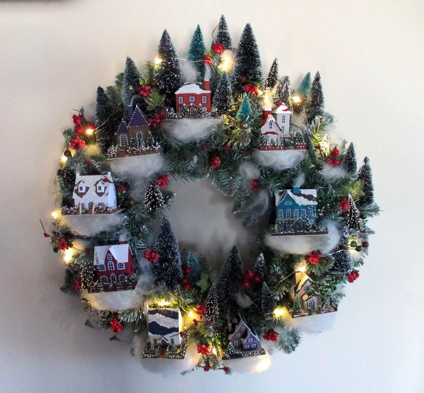 christmas village wreath my version of a martha stewart de flickr. Black Bedroom Furniture Sets. Home Design Ideas