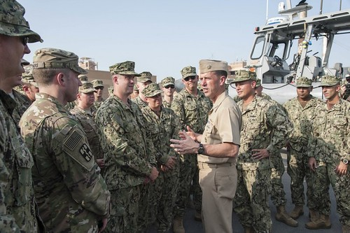 NAVAL SUPPORT ACTIVITY BAHRAIN (NNS) -- The Chief of Naval Operations (CNO), Adm. John Richardson, made his first visit to the U.S. 5th Fleet at Naval Support Activity (NSA) Bahrain.