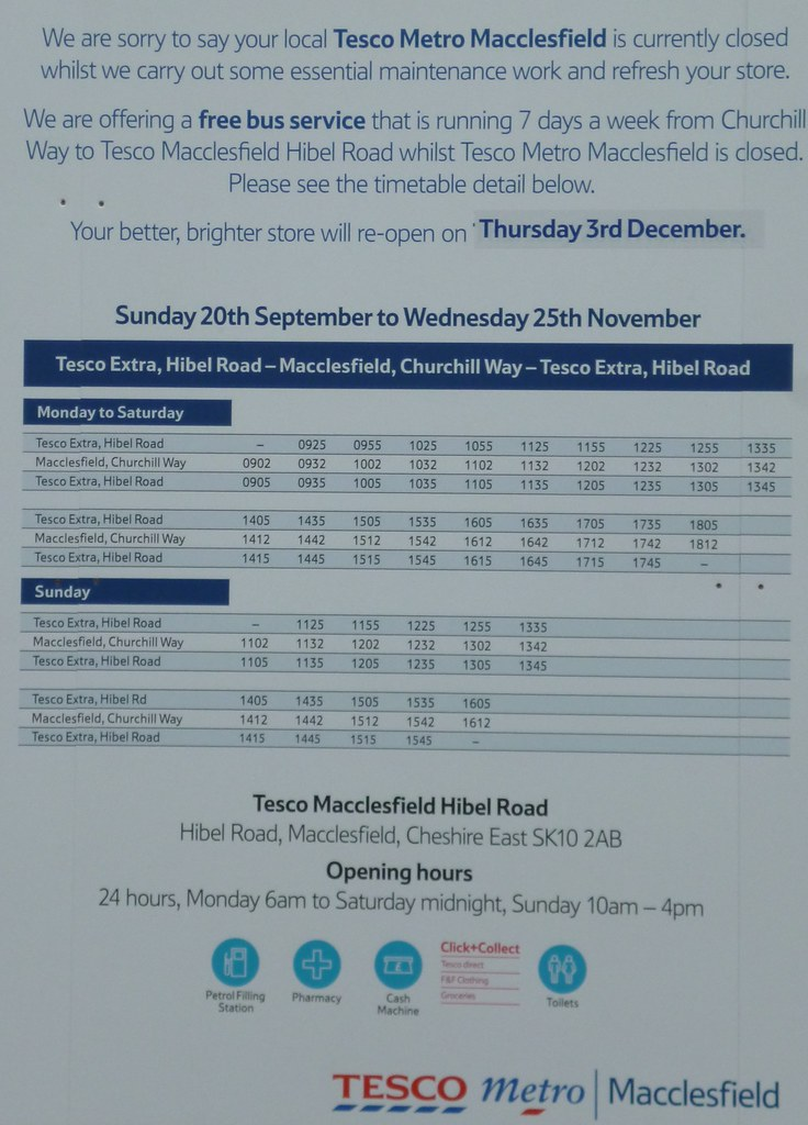 Macclesfield Tesco Free Bus Timetable Tesco Metro In