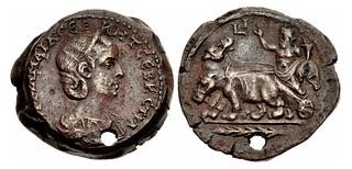 Julia Mamaea Drachm with Nilus in Hippopotamus Biga
