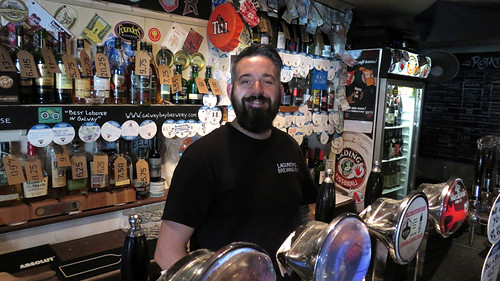 The bartender at the Salt House, a Galway Bay craft beer pub in Galway, Ireland