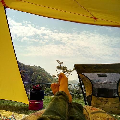 20170403 美好的露營日 收收賴賴 好自在 #歐北露 #campinglife #soulwhattent #helinoxchair