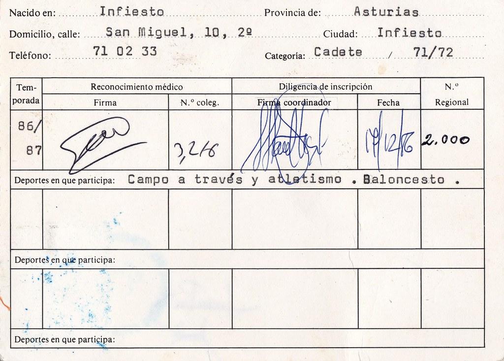 Licencia deportiva de Juan Puerta Valiente. Foto 013.