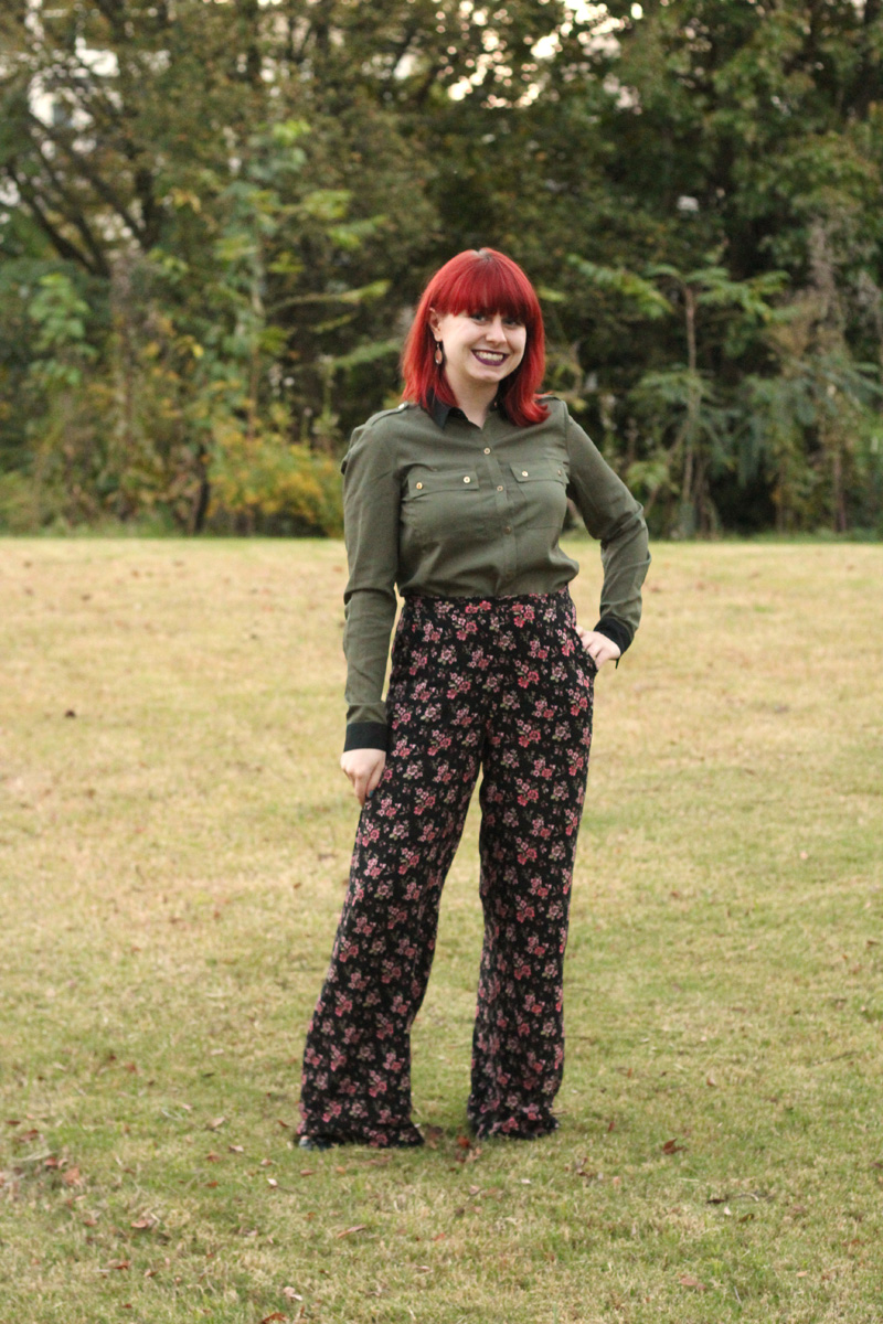 Army Green Button Down Top with Wide Legged Floral Print Pants