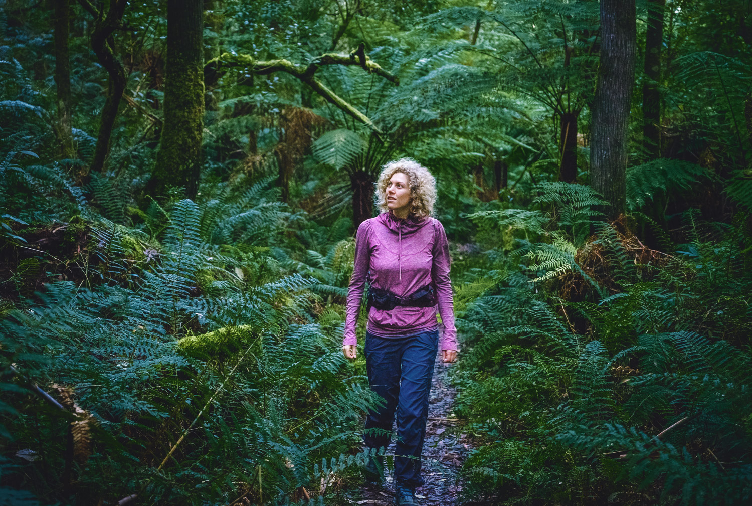 Dina hiking in forest on Mount Cowley, Lorne Australia