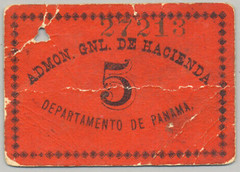 French Panama Canal Administration 5 centavo scrip note
