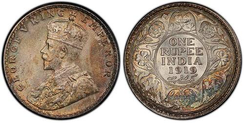 India 1919 Calcutta Mint Rupee