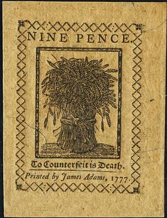 Delaware May 1, 1777 9 Pence bac