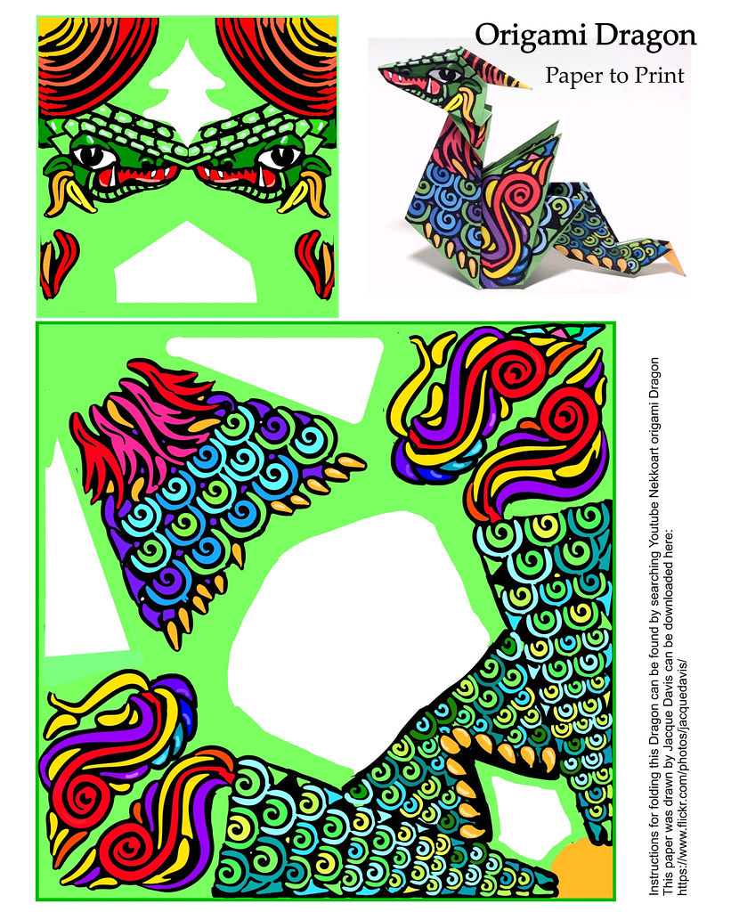 origami dragon paper | This dragon origami model was ...