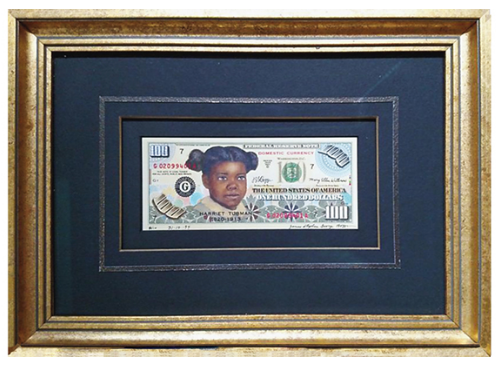 Boggs Tubman $100 note framed