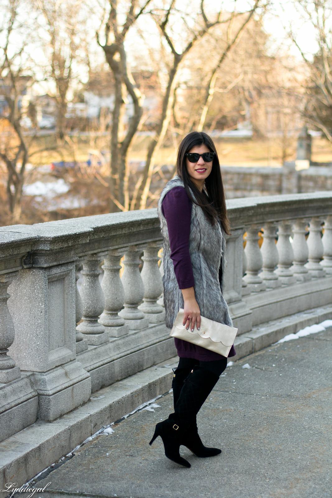 Swap Burgundy Sweater Dress, fur vest, matine clutch-2.jpg