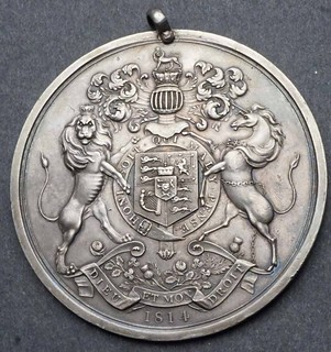 1814 George III Large Silver Peace Medal rreverse