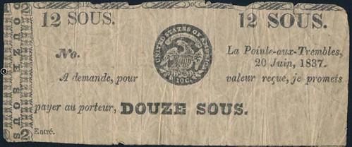 1837 Lower Canada Merchant Scrip 12 sous