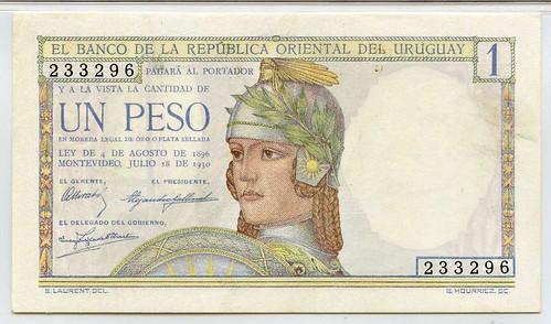 1930 Uruguay 1 Peso Commemorative Banknote fCE