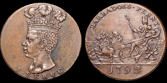 1792 Barbados Copper Penny Token