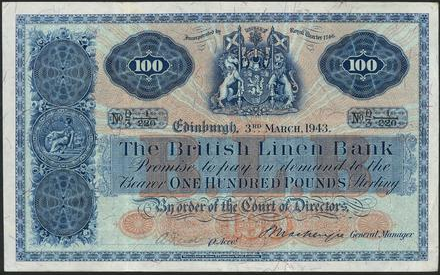 1943 British Linen Bank 100 Pound banknote