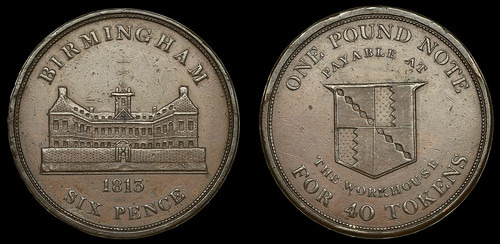 1813 Birmingham Workhouse Sixpence