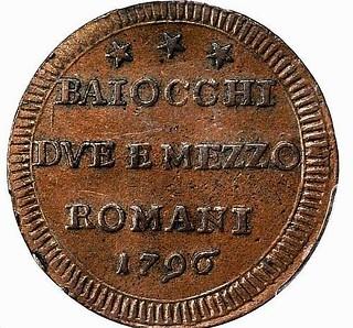 1796 Papal States 2 1-2 Baiocchi reverse