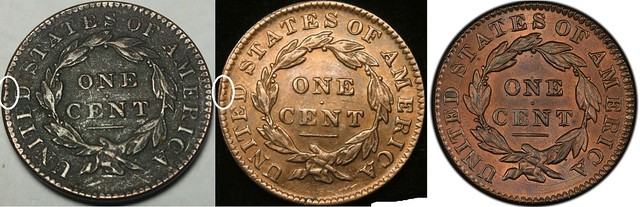 Fake and Genuine 1833 Large Cent reverses