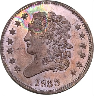 1833-1-2-Half-Cent-Classic-Head-99-Red-Copper-Copy-Coins obverse