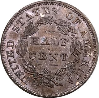 1833-1-2-Half-Cent-Classic-Head-99-Red-Copper-Copy-Coins reverse