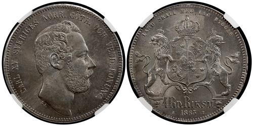 Sweden Carl XV riksdaler species