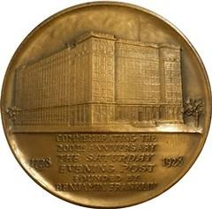 Franklin Medal Saturday Evening Post reverse