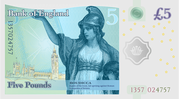 Bank of England Five Pounds Boudicca fantasy note