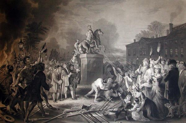 Pulling down statue of George III