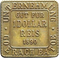 Goerach Batoe 1 dollar Reis 1890 VZ LaBe 87 Forgery