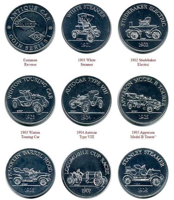 Sunoco Antique Car Coin Series 1 tokens