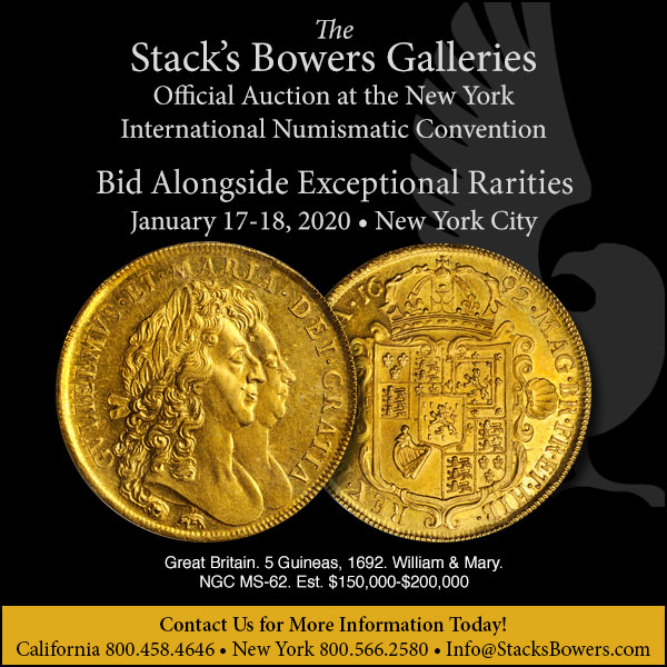 Stacks-Bowers E-Sylum ad 2019-11-17 New York sales