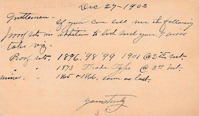 Lighthouse John C postcard to Chapmans 12_27_1903
