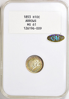 1853 Arrows Half Dime in NGC White label holder