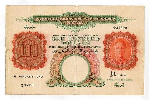 Malaya 1942 $100 Banknote