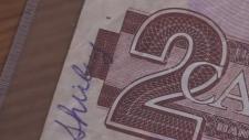 Shirley signature on Canadian $2 bill