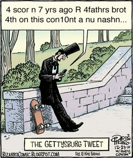 Lincoln texting Gettysburg address cartoon