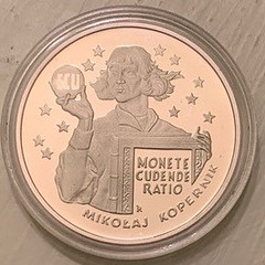 1995 Copernicus holding the ECU coin obverse