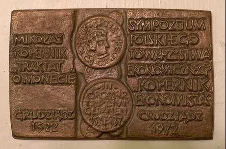 1972 plaquette to Copernicus as economist