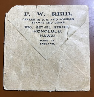 F.W. Reid coin dealer envelop Honolulu Hawaii